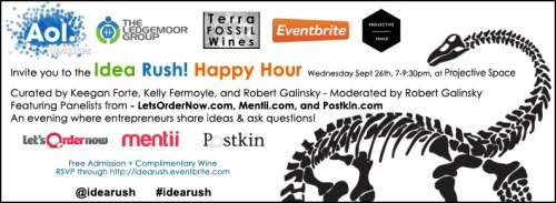 The IdeaRush! Happy Hour is the Wednesday FREE in NYC, join us for wine and mental stimulation!